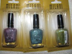 'BNWT Milani 3D Holographic Nail Lacquer Set of 3' is going up for auction at  8am Thu, Sep 19 with a starting bid of $5.