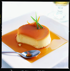 This crème caramel recipe uses the zest of an orange to give a fresh, citrus flavour.