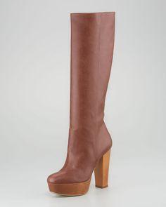 Stella McCartney Woodplatform Faux Leather Knee Boot