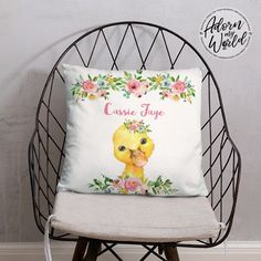 Duckling Pillow, Baby Duck Pillow, Duck Gifts, Custom Name Pillow, Duckling Nursery Decor, Baby Shower Gift For Girl, Personalized Cushion