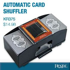 """AUTOMATIC CARD SHUFFLER from Regal Gifts The perfect accessory for game night! Battery operated card shuffler can mix one or two decks of cards with the push of a button. Operates on 4 AA batteries (not included.) Ages 8+. 8""""L x 4""""W x 3-1/2""""H Product Number KR375"""