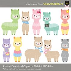 Cute Animal Alpaca Llama Clipart Clip Art Baby Animal Clipart Farm Pet Animal Clipart Instant Digital Download