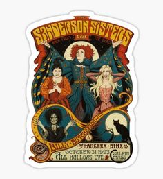 'Sanderson Sisters Halloween' Sticker by abu nawwas Spooky Halloween Decorations, Sanderson Sisters, Halloween Wallpaper Iphone, Halloween Stickers, Cute Stickers, Sell Your Art, Sticker Design, Vinyl Decals, Cute Pictures
