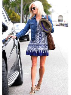I like the print of her dress and the idea of pairing it with a jean jacket. I'm not a huge fan of fedoras (on me).