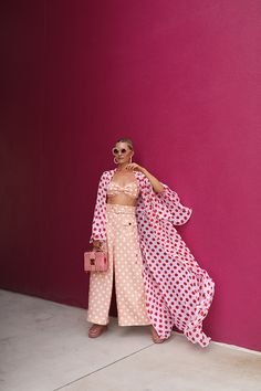 A polka dot party // Blair Eadie wearing an Alexandra Miro polka dot cover up and a Zimmermann polka dot pant and bow top set // Earrings by Lele Sadoughi and bag by Mark Cross // Click through to Atlantic-Pacific for more warm weather looks Fashion Pants, Fashion Outfits, Womens Fashion, Dots Fashion, Fashion Tips, Polka Dot Pants, Polka Dots, Polka Dot Outfit, Atlantic Pacific