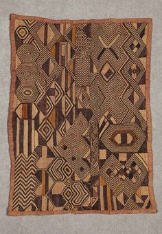 Africa | Design panel ~ bwiin ~ from the Kuba people of DR Congo | Raffia palm fiber, natural pigment dyes