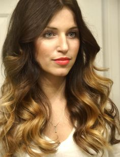 Use a curling iron to get these loose curls. Click on the photo to get the steps.