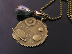 Crystal with Steampunk/Planet Pendant Necklace by WedunitJewels