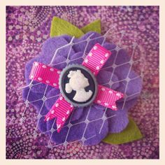 Purple Felt Cameo Flower Hair Clip by JadensClosetBoutique on Etsy, $6.00