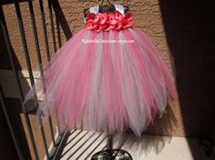 Coral and Silver Tutu Dress by KatieDscreations on Etsy, $75.00