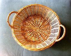 Vintage rustic wicker woven basket tray with wooden handles caddy kitchen bathroom picnic hamper farmhouse country cottage storage Ireland by IrishBarnVintage on Etsy
