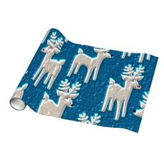 Christmas Faux Metallic Reindeer glossy wrapping p Gift Wrapping Paper #zazzle #wrappingpaper #Christmas