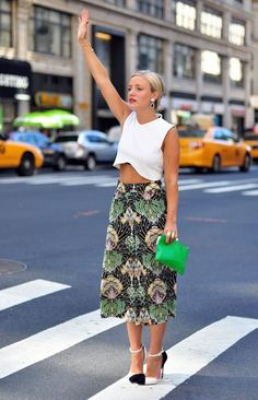 Cute midi skirt with white blouse