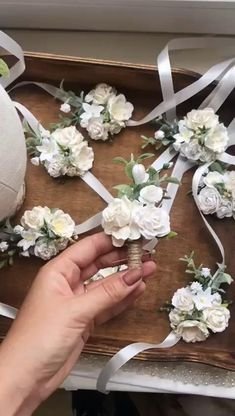 Ivory collection: boutonniere, wrist corsage and floral crown with handmade flowers of white and ivory color. Wedding Coursage, Diy Wedding Bouquet, Flower Crown Wedding, Diy Wedding Flowers, Wedding Flower Arrangements, Diy Wedding Decorations, Floral Wedding, Rustic Wedding, Crown Flower