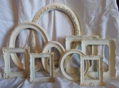 Frame Set Ivory with a touch of Gold set of 9 by tawnystreasures, $125.00