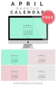 Monthly Desktop Calendar. APRIL! Get your free April desktop calendar, always handy to have a calendar on your desktop, right? Available n different colors, choose yours! #freebie #wallpaper #aprilcalendar #plannercommunity #calendar #april #planner