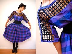 Vtg 80's Caged Cut Out Plaid Dress