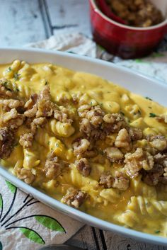 Butternut Squash Mac and Cheese with Candied Walnuts | The Girl In The Little Red Kitchen