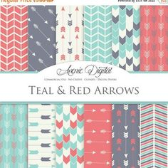 50% OFF Teal and Red Arrows Digital Paper. Scrapbook Backgrounds. Tribal patterns for Commercial Use. arrow, chevron clipart Instant Downloa