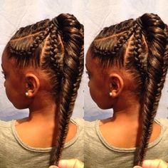 5 braid cornrow, fishtail ponytail. Black girl hairstyles.