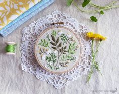 Green flowers, Embroidery kit, Christmas gift idea - Green Leaves - christmas gift for coworker, Embroidery Hoop Art, Diy Kit, Tamar Nahir