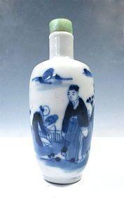 Chinese Blue And White Glazed Porcelain Snuff Bottle