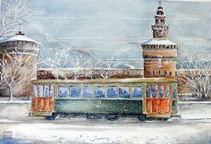 """""""tram e neve al castello Sforzesco ,Milano"""" acquerello 35x51 di Lorenza Pasquali n.d."""