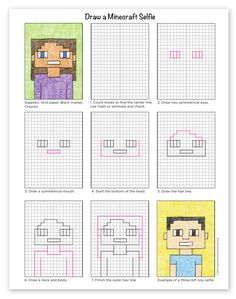 Learn how to draw a Minecraft Selfie by using a grid template and your math skills to create a symmetrical portrait made totally out of small squares. Minecraft Kunst, Minecraft Drawings, Minecraft Crafts, Minecraft Buildings, Self Portrait Kids, Portraits For Kids, Drawing Projects, Art Projects, Pixel Art