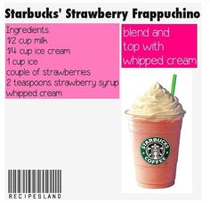 a Starbucks Strawberry Frappuccino! Starbucks Strawberry Frappuccino, Starbucks Secret Menu Drinks, Mocha Frappuccino, Healthy Starbucks, Milkshake Recipes, Smoothie Recipes, Smoothies, Yummy Drinks, Yummy Food