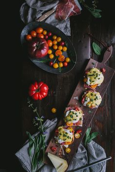 Eggs Benedict with Manchego, Tomatoes, Prosciutto