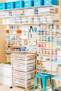 Container Stories from the Container Store - craft room inspiration Sewing Room Organization, Craft Room Storage, Craft Rooms, Organization Ideas, Container Organization, Paper Storage, Diy Storage, Storage Containers, Storage Ideas