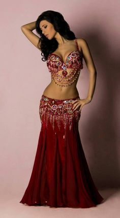 red bellydance costume