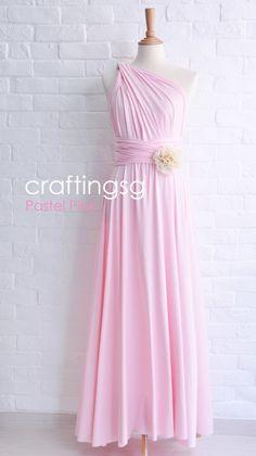 Demoiselle d'honneur robe Infinity Dress sol rose Pastel longueur Convertible robe robe de mariée