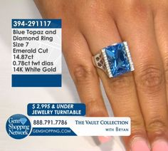 Blue Topaz and white gold ring. Discover Gemstones and stunning jewelry from every era, vintage diamond rings, Art Deco blue sapphire earrings, estate emerald bracelets, ruby necklaces and more! Tune in to Gem Shopping Network to see more stunning Gemstones & Jewelry 24/7.  Item #394-291117 14.87 ct Blue Topaz Emerald Cut & 0.78 ctw Diamond Round 14K White Gold Ring Size 7