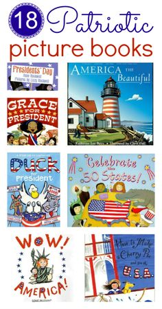Patriotic picture books (for of July, Presidents' Day, and other patriotic holidays) Find great books for of July in this list of patriotic picture books for kids . Preschool Books, Book Activities, History Activities, Preschool Crafts, Kindergarten Books, Summer Activities, Kids Crafts, American Symbols, American History