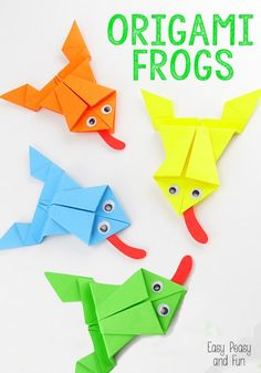 Origami Frogs Tutorial - Origami for Kids - Easy Peasy and Fun. I love origami Design Origami, Art Origami, Origami Ball, Origami Ideas, Origami Mobile, Origami Patterns, Frog Crafts, Crafts For Kids, Arts And Crafts