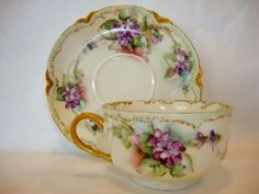 Delicate Fine Limoges Porcelain Cup and Saucer Se Haviland Limoges France 1894-1931