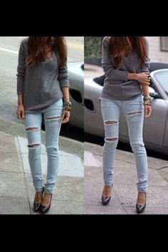 Ripped jeans with grey sweater! Perf for casual fall outfit Löchrige Jeans, Holey Jeans, Jeans With Heels, Torn Jeans, Tattered Jeans, Cut Jeans, Sexy Jeans, Riped Jeans, Image Fashion