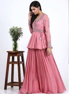 Dress pink Beautiful Peplum blouse with hand embroidery work and Plazo Lehenga Latest Indian fashion 2019 Pink dress Lehenga Designs, Latest Lehnga Designs, Latest Dress Design, Kurti Designs Party Wear, Indian Gowns Dresses, Indian Fashion Dresses, Dress Indian Style, Indian Designer Outfits, Designer Dresses