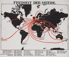 "1918 German propaganda poster entitled ""Freedom of the Seas"" & depicting Britain as a globe-encircling imperial octopus"