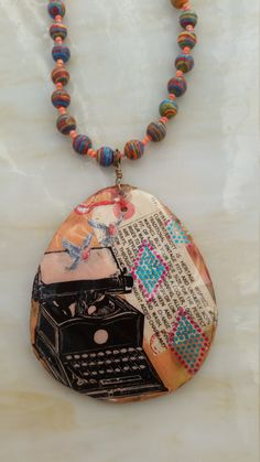 Original Art Large Pendant Beaded Necklace by DirtyPopAccessories on Etsy