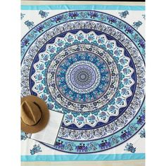Graphic Print Boho Beach Blanket (12 NZD) ❤ liked on Polyvore featuring swimwear, cover-ups, multicolor, beach wear, boho cover up, cover up beachwear, bohemian beach cover up and print swimwear