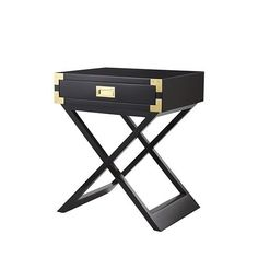 Black Lacquer One Drawer Side Table - LOW STOCK - ORDER NOW!