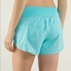 lululemon tracker short II lululemon tracker short II. Actual color is the Turquoise and Aqua color blocked photo. Great condition, worn once. Comes with pictured lulu bag! Size 4 lululemon athletica Shorts