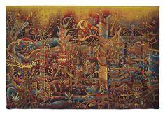 'Presencia de los Apus en la Jungla' a hand-woven tapestry by Maximo Laura.
