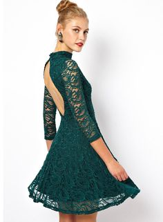 Dark Green Long Sleeve Lace Dress 21.99