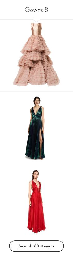 """""""Gowns 8"""" by hallierosedale ❤ liked on Polyvore featuring dresses, gowns, long dresses, maxi dress, layered long dress, ruffle gown, ruffle long dress, flutter-sleeve dresses, atlantis and white maxi dress"""