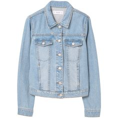 Light Wash Denim Jacket (395 ARS) ❤ liked on Polyvore featuring outerwear, jackets, denim jacket, coats, long sleeve denim jacket, long sleeve jacket, jean jacket, embellished jean jacket and mango jackets
