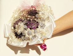 Brooch wedding purple bouquet with matching by igotmymrG on Etsy, zł400.00