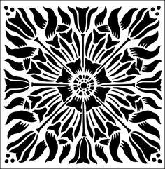 Tile No 10 stencil from The Stencil Library ARTS AND CRAFTS range. Buy stencils online. Stencil code DE97.